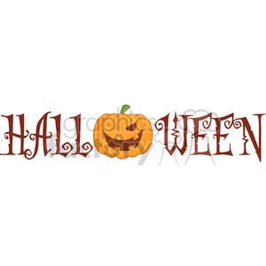 Royalty Free RF Clipart Illustration Halloween Text With Pumpkin Winking Cartoon Character