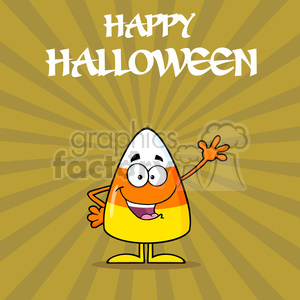 8876 Royalty Free RF Clipart Illustration Funny Candy Corn Cartoon Character Waving Vector Illustration With Background And Text