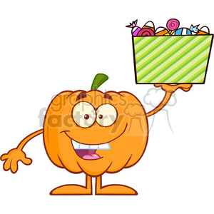 Royalty Free RF Clipart Illustration Smiling Halloween Pumpkin Mascot Character Holds A Box With Candys clipart. Royalty-free image # 396215