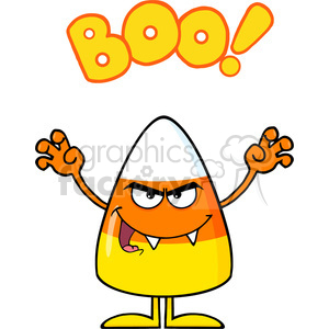 8884 Royalty Free RF Clipart Illustration Scaring Candy Corn Cartoon Character Holding Up His Arms With Text Vector Illustration Isolated On White