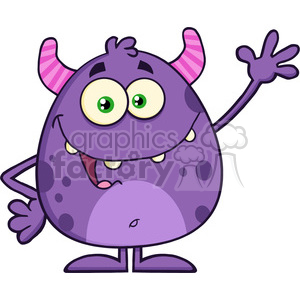 8901 Royalty Free RF Clipart Illustration Happy Cute Monster Cartoon Character Waving Vector Illustration Isolated On White