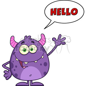 8903 Royalty Free RF Clipart Illustration Happy Cute Monster Cartoon Character Waving With Speech Bubble And Text Vector Illustration Isolated On White clipart. Royalty-free image # 396255