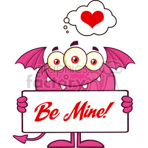 8922 Royalty Free RF Clipart Illustration Smiling Pink Monster Cartoon Character Holding A Be Mine Sign Vector Illustration Isolated On White