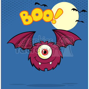 8911 Royalty Free RF Clipart Illustration Furry One Eyed Monster Cartoon Character Flying With Text Vector Illustration Greeting Card