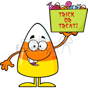 8877 Royalty Free RF Clipart Illustration Smiling Candy Corn Cartoon Character Holds A Box With Candys And Text Vector Illustration Isolated On White