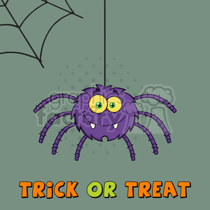 8955 Royalty Free RF Clipart Illustration Smiling Purple Halloween Spider Cartoon Character On A Web With Text Vector Illustration Greeting Card clipart. Royalty-free image # 396295
