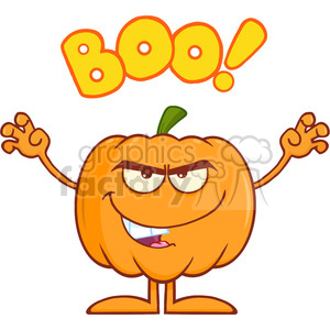 Royalty Free RF Clipart Illustration Scaring Halloween Pumpkin Cartoon Mascot Character With Text clipart. Royalty-free image # 396305