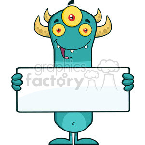 8927 Royalty Free RF Clipart Illustration Happy Horned Blue Monster Cartoon Character Holding A Blank Sign Vector Illustration Isolated On White