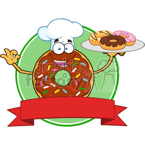 8728 Royalty Free RF Clipart Illustration Chef Chocolate Donut Cartoon Character With Sprinkles Serving Donuts Circle Label Vector Illustration Isolated On White clipart. Commercial use image # 396379