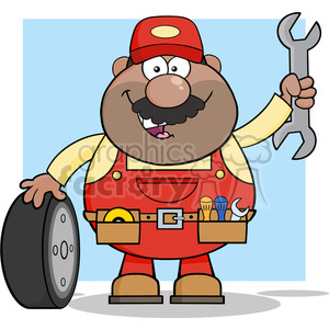 8556 Royalty Free RF Clipart Illustration Smiling African American Mechanic Cartoon Character With Tire And Huge Wrench Vector Illustration With Background clipart. Royalty-free image # 396397