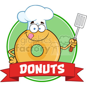 8652 Royalty Free RF Clipart Illustration Chef Donut Cartoon Character Circle Banner Vector Illustration Isolated On White animation. Royalty-free animation # 396401