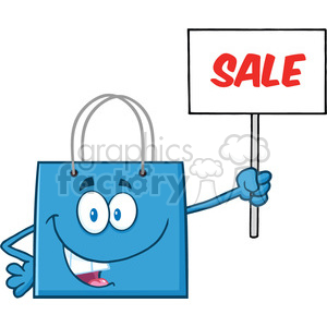 8762 Royalty Free RF Clipart Illustration Blue Shopping Bag Cartoon Character Holding Up A Blank Sign With Text Vector Illustration Isolated On White clipart. Royalty-free image # 396417