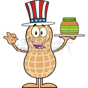 8639 Royalty Free RF Clipart Illustration American Peanut Cartoon Character Holding A Jar Of Peanut Butter Vector Illustration Isolated On White clipart. Royalty-free image # 396419