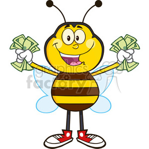 8377 Royalty Free RF Clipart Illustration Happy Bee Cartoon Mascot Character With Cash Vector Illustration Isolated On White