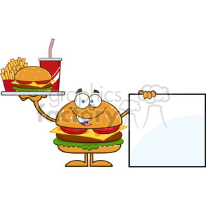 8580 Royalty Free RF Clipart Illustration Hamburger Cartoon Character Holding A Platter With Burger, French Fries And Soda By Blank Sign Vector Illustration Isolated On White clipart. Royalty-free image # 396499