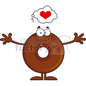 8716 Royalty Free RF Clipart Illustration Chocolate Donut Cartoon Character Thinking Of Love And Wanting A Hug Vector Illustration Isolated On White clipart. Royalty-free image # 396513