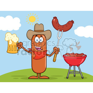 8461 Royalty Free RF Clipart Illustration Cowboy Sausage Cartoon Character Holding A Beer And Weenie Next To BBQ Vector Illustration Isolated On White clipart. Royalty-free image # 396527
