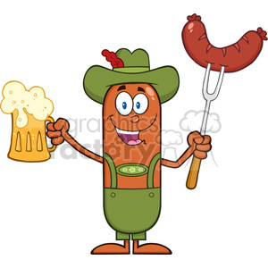 German Oktoberfest Sausage Cartoon Holding A Beer And Weenie On A Fork clipart. Royalty-free image # 396539