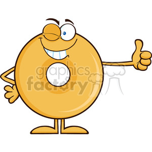8655 Royalty Free RF Clipart Illustration Winking Donut Cartoon Character Giving A Thumb Up Vector Illustration Isolated On White