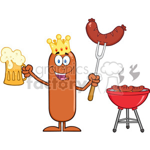8475 Royalty Free RF Clipart Illustration Happy King Sausage Cartoon Character Holding A Beer And Weenie Next To BBQ Vector Illustration Isolated On White