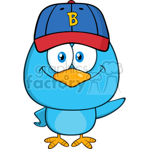 8842 Royalty Free RF Clipart Illustration Smiling Blue Bird Cartoon Character With Baseball Hat Waving Vector Illustration Isolated On White clipart. Commercial use image # 396601