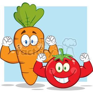 8402 Royalty Free RF Clipart Illustration Carrot And Tomato Cartoon Mascot Characters Showing Muscle Arms Vector Illustration With Background clipart. Royalty-free image # 396641