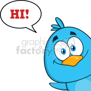 8814 Royalty Free RF Clipart Illustration Smiling Blue Bird Cartoon Character Looking From A Corner With Speech Bubble And Text Vector Illustration Isolated On White clipart. Commercial use image # 396665