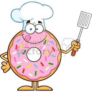 8670 Royalty Free RF Clipart Illustration Chef Donut Cartoon Character With Sprinkles Holding A Slotted Spatula Vector Illustration Isolated On White