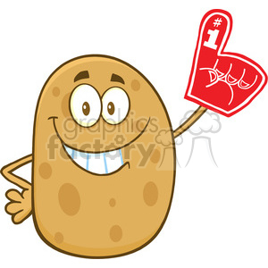 8785 Royalty Free RF Clipart Illustration Happy Potato Cartoon Character Wearing A Foam Finger Vector Illustration Isolated On White clipart. Commercial use image # 396735