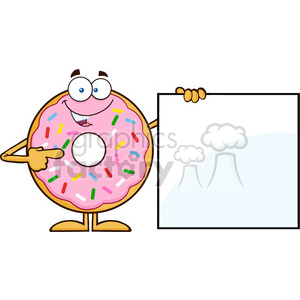 8680 Royalty Free RF Clipart Illustration Donut Cartoon Character With Sprinkles Showing A Blank Sign Vector Illustration Isolated On White