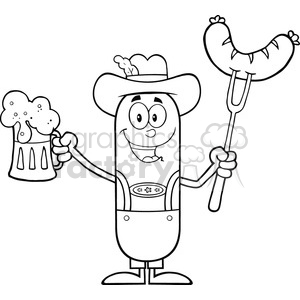 8445 Royalty Free RF Clipart Illustration Black And White German Oktoberfest Sausage Cartoon Character Holding A Beer And Weenie On A Fork Vector Illustration Isolated On White clipart. Commercial use image # 396759