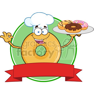 8725 Royalty Free RF Clipart Illustration Chef Donut Cartoon Character Serving Donuts Circle Label Vector Illustration Isolated On White clipart. Commercial use image # 396777