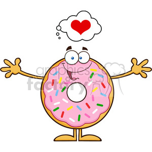8676 Royalty Free RF Clipart Illustration Funny Donut Cartoon Character With Sprinkles Thinking Of Love And Wanting A Hug Vector Illustration Isolated On White clipart. Royalty-free image # 396803