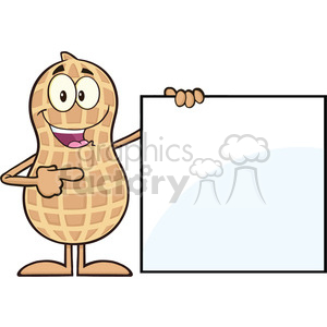 8630 Royalty Free RF Clipart Illustration Peanut Cartoon Character Showing A Blank Sign Vector Illustration Isolated On White clipart. Commercial use image # 396805