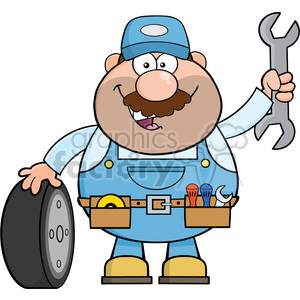 8553 Royalty Free RF Clipart Illustration Smiling Mechanic Cartoon Character With Tire And Huge Wrench Vector Illustration Isolated On White clipart. Commercial use image # 396817