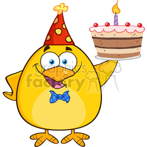 8617 Royalty Free RF Clipart Illustration Happy Yellow Chick Cartoon Character Holding Up A Birthday Cake Vector Illustration Isolated On White clipart. Royalty-free image # 396849