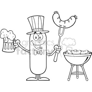 8456 Royalty Free RF Clipart Illustration Black And White Patriotic Sausage Cartoon Character Holding A Beer And Weenie Next To BBQ Vector Illustration Isolated On White clipart. Commercial use image # 396853