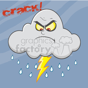 7030 Royalty Free RF Clipart Illustration Angry Cloud With Lightning And Rain clipart. Royalty-free image # 396885