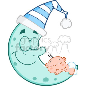 6982 Royalty Free RF Clipart Illustration Cute Baby Boy Sleeps On Blue Moon Cartoon Characters clipart. Commercial use image # 396895