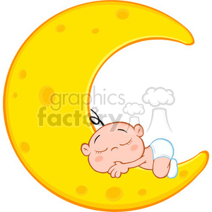 Royalty Free RF Clipart Illustration Cute Baby Boy Sleeps On Moon Cartoon Character clipart. Royalty-free image # 396905