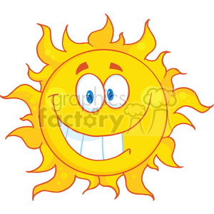 Royalty Free RF Clipart Illustration Smiling Sun Cartoon Mascot Character