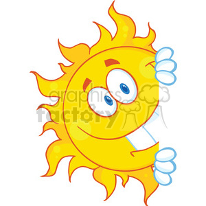 Royalty Free RF Clipart Illustration Smiling Sun Looking Around A Sign Cartoon Mascot Character clipart. Royalty-free image # 396925