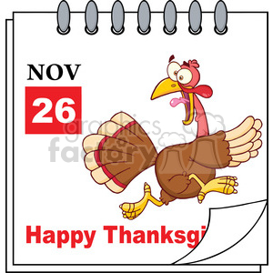 8967 Royalty Free RF Clipart Illustration Cartoon Calendar Page With Cartoon Turkey Escape Vector Illustration clipart. Commercial use image # 396948