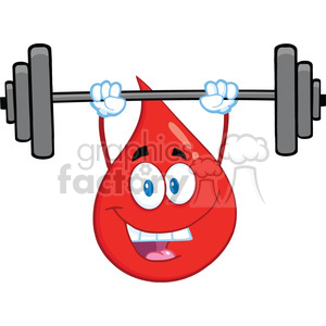 Royalty Free RF Clipart Illustration Red Blood Drop Cartoon Mascot Character Lifting Weights clipart. Royalty-free image # 396971