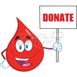 Royalty Free RF Clipart Illustration Red Blood Drop Cartoon Mascot Character Holding Up A Blank Sign With Text Donate clipart. Commercial use image # 396991