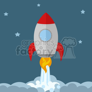 8303 Royalty Free RF Clipart Illustration Rocket Ship Start Up Concept Flat Style Vector Illustration clipart. Royalty-free image # 397001