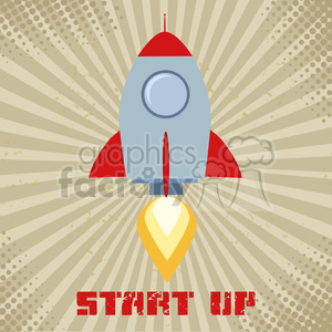 8328 Royalty Free RF Clipart Illustration Vintage Rocket Start Up Concept Flat Style Vector Illustration With Text clipart. Commercial use image # 397011