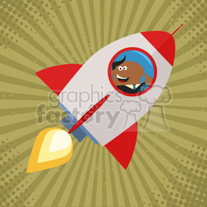 8334 Royalty Free RF Clipart Illustration African American Manager Launching A Rocket And Giving Thumb Up Flat Style Vector Illustration clipart. Royalty-free image # 397031
