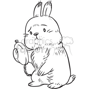 rabbit late for Easter clipart. Commercial use image # 397110
