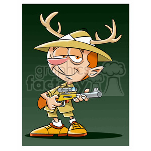 leo the cartoon safari character holding rifle wearing antlers clipart. Commercial use image # 397384